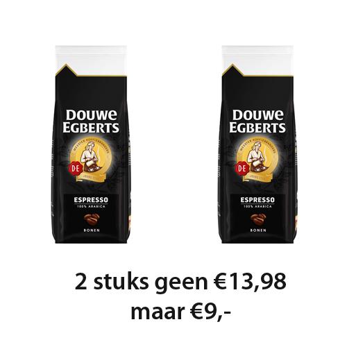 Diverse soorten Douwe Egbert gemalen koffie en koffiebonen per 2 stuks