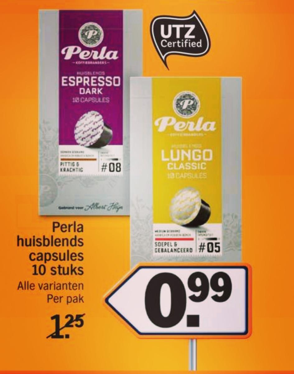 ---Albert Heijn--- Perla Nespresso cups 10 Stuks €0.99