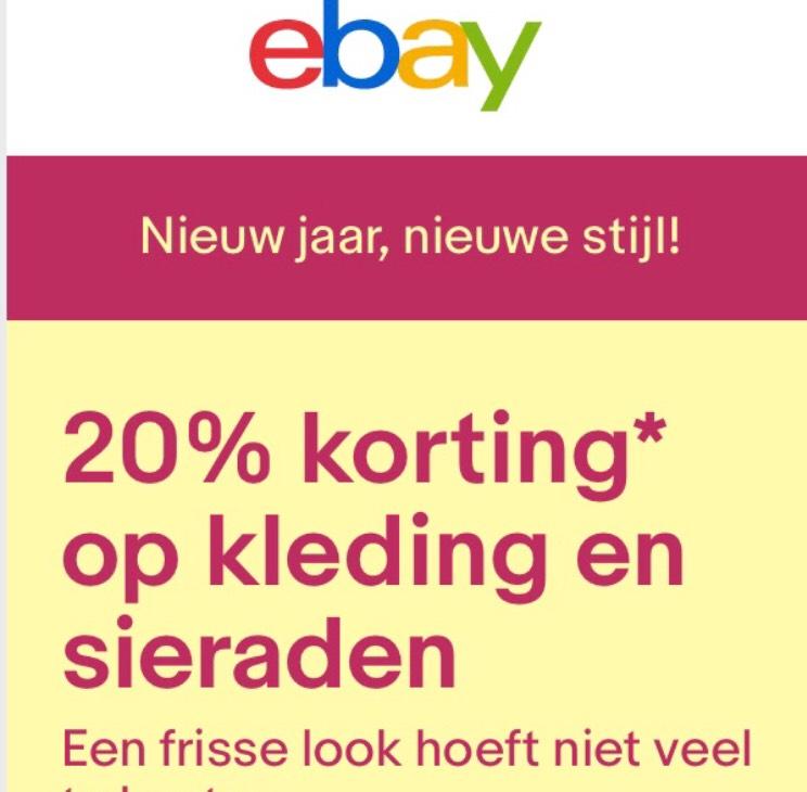 20% korting op kleding en sieraden @ ebay