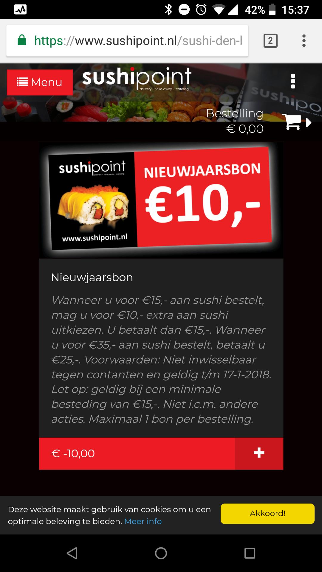 Sushipoint - 10 euro korting