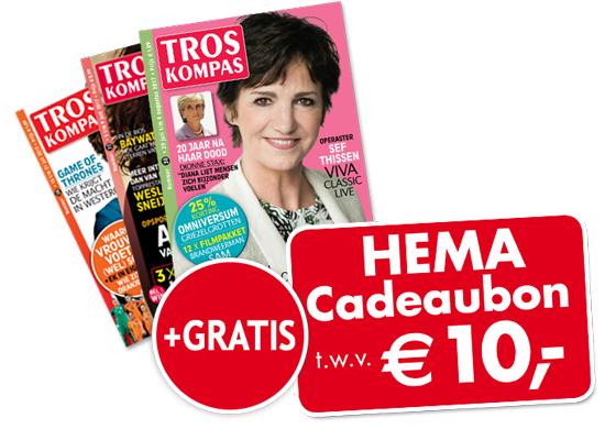 Gratis Tros Kompas half jaar abbo als je toevallig 10 euro gaat/wilt uitgeven bij de Hema