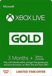 Xbox Live 3 Month Gold Membership + 3 Bonus Months voor £14.99/€17 @ GAME UK