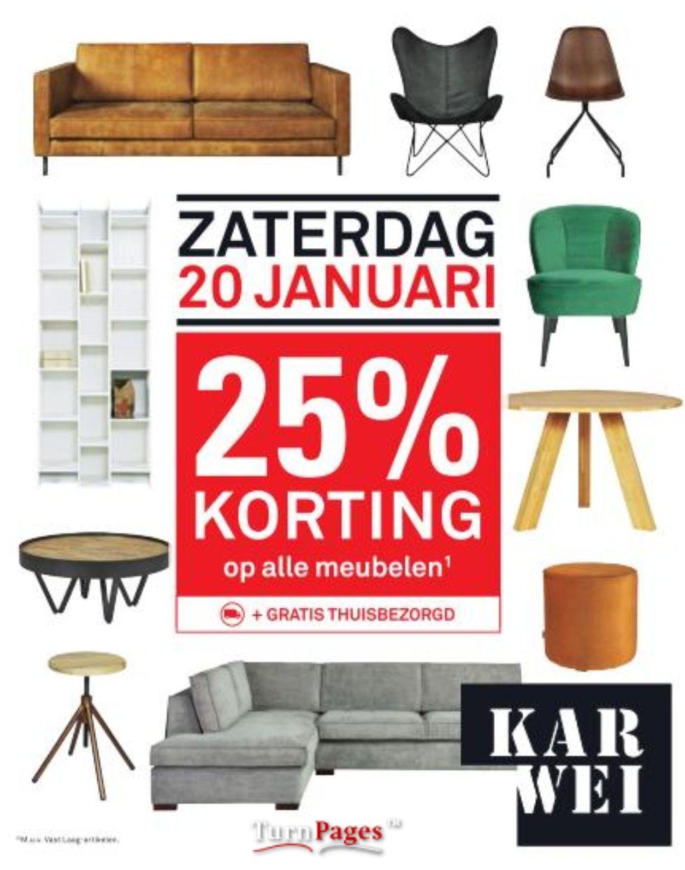 Zaterdag 20 januari 25% korting op alle meubelen