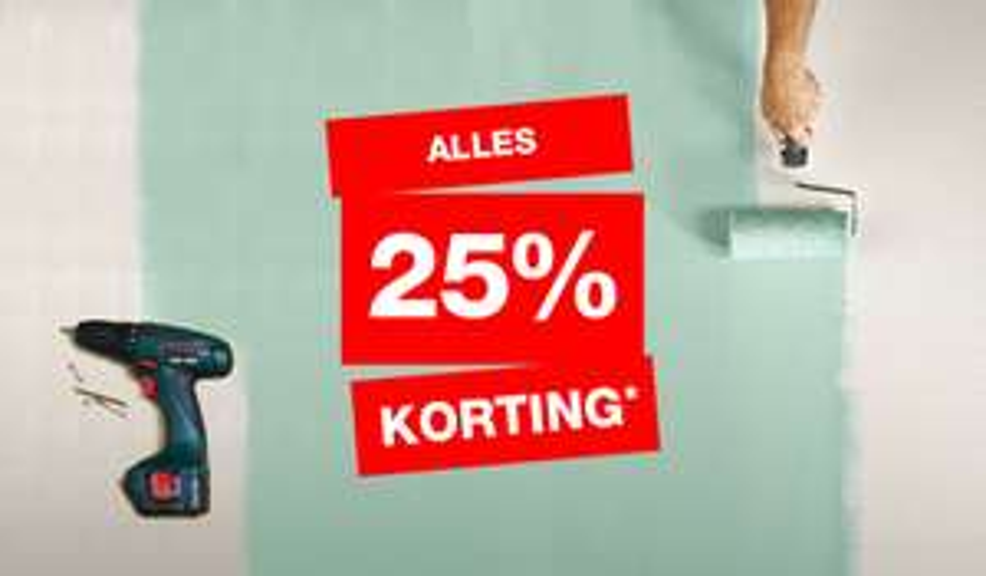 25% korting op alles bij Praxis