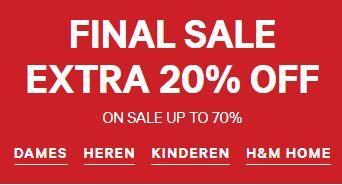 Sale tot -70% + 20% extra + gratis verzending (va €50) @ H&M