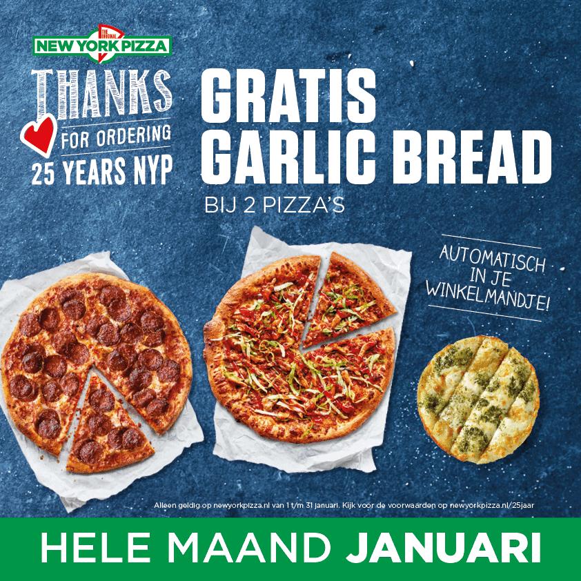 Gratis garlic bread @New York Pizza
