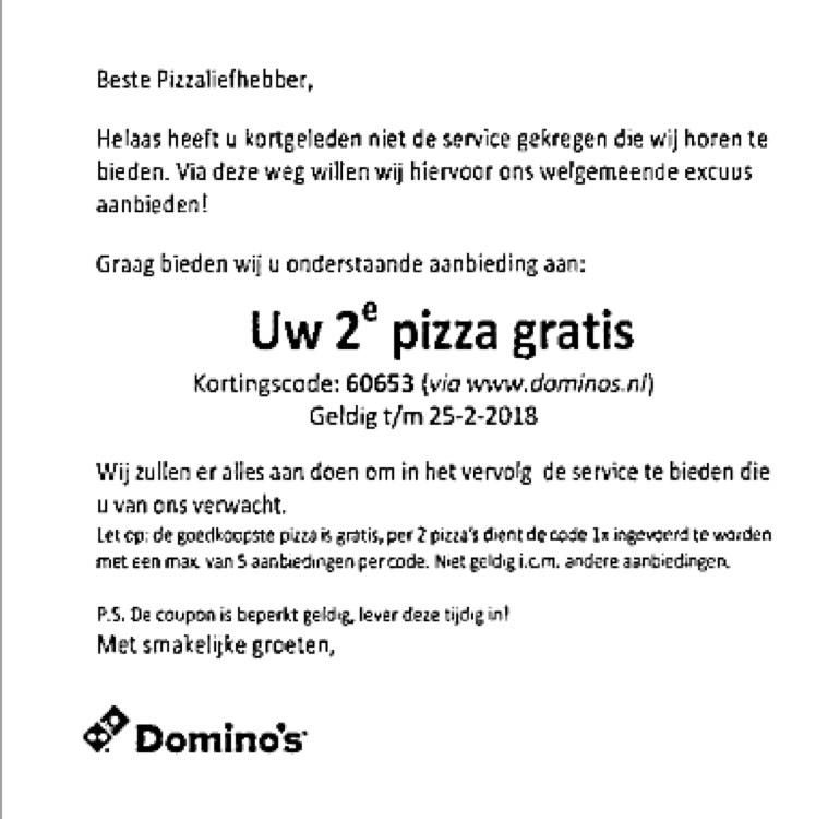 Domino's 2e pizza GRATIS
