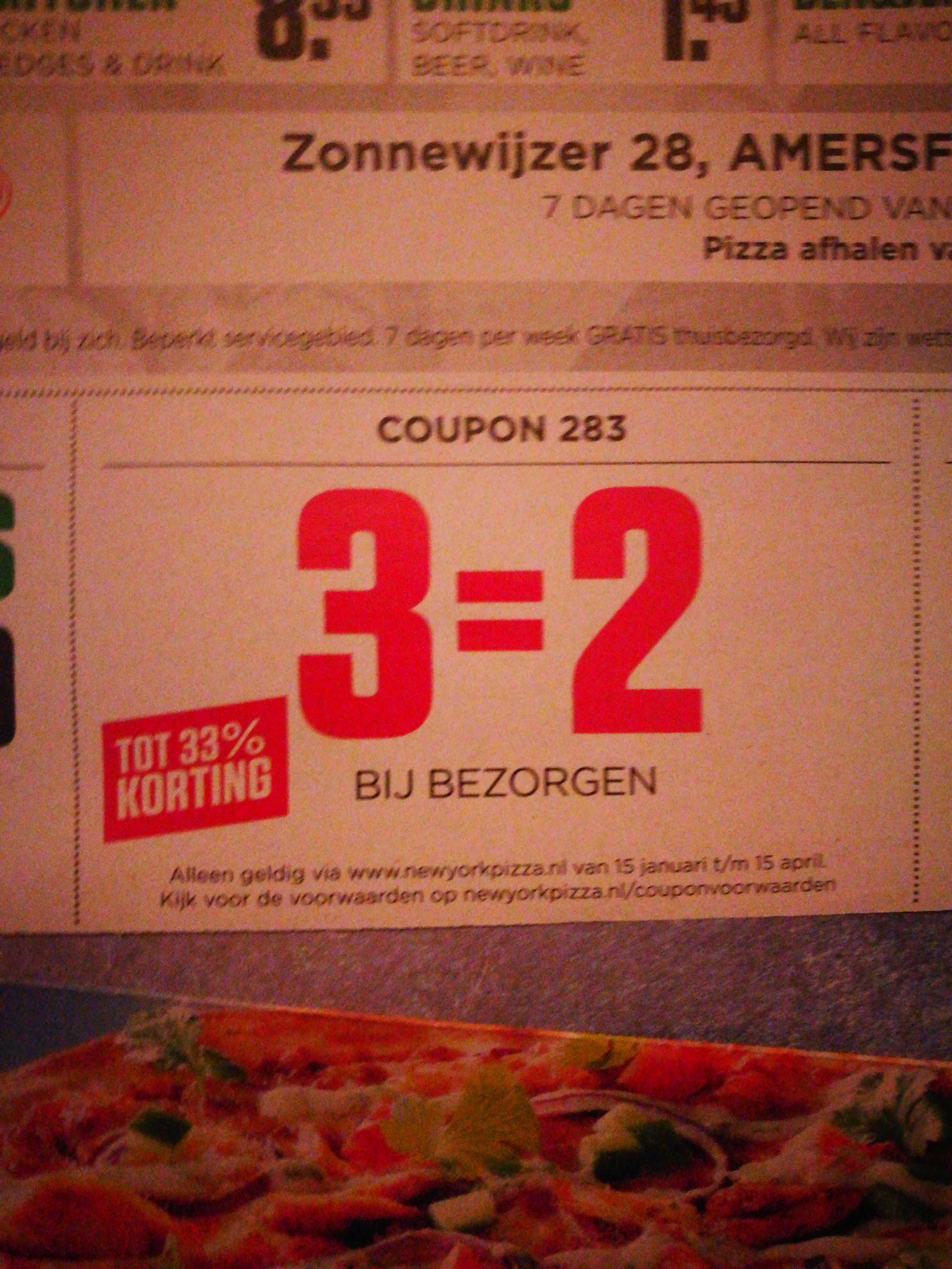 New York Pizza, 3 halen 2 betalen bij bezorging
