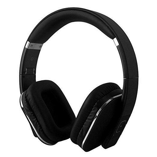 Augustus ep650Bluetooth NFC hoofdtelefoon met aptx-technologie, leren oorkussens (Kleur) zwart