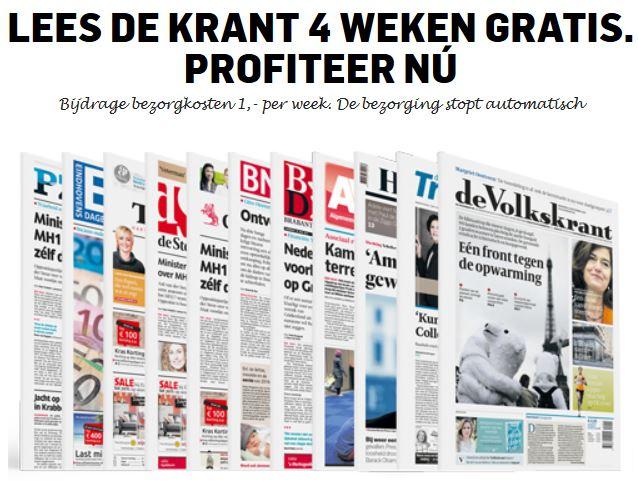 Lees de krant 4 weken voor €4