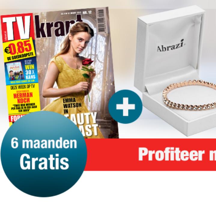 TV Krant het eerste halfjaar gratis + roségouden armband gezet met Swarovski-kristallen van Abrazi t.w.v. 89,- gratis!