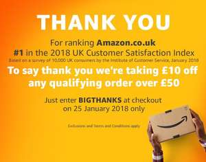 £10  korting door kortingcode (min. besteding £50) @ Amazon.co.uk