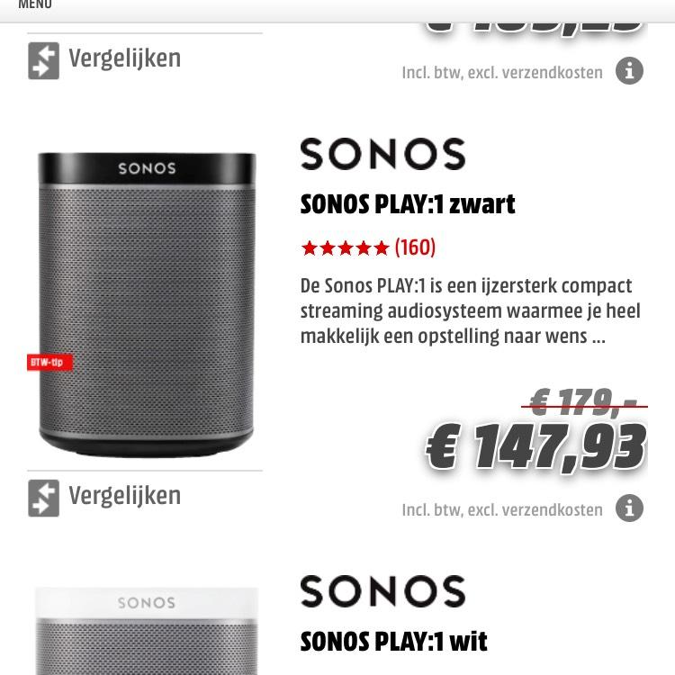 Sonos Play 1 voor 147.93 - MediaMarkt BTW actie