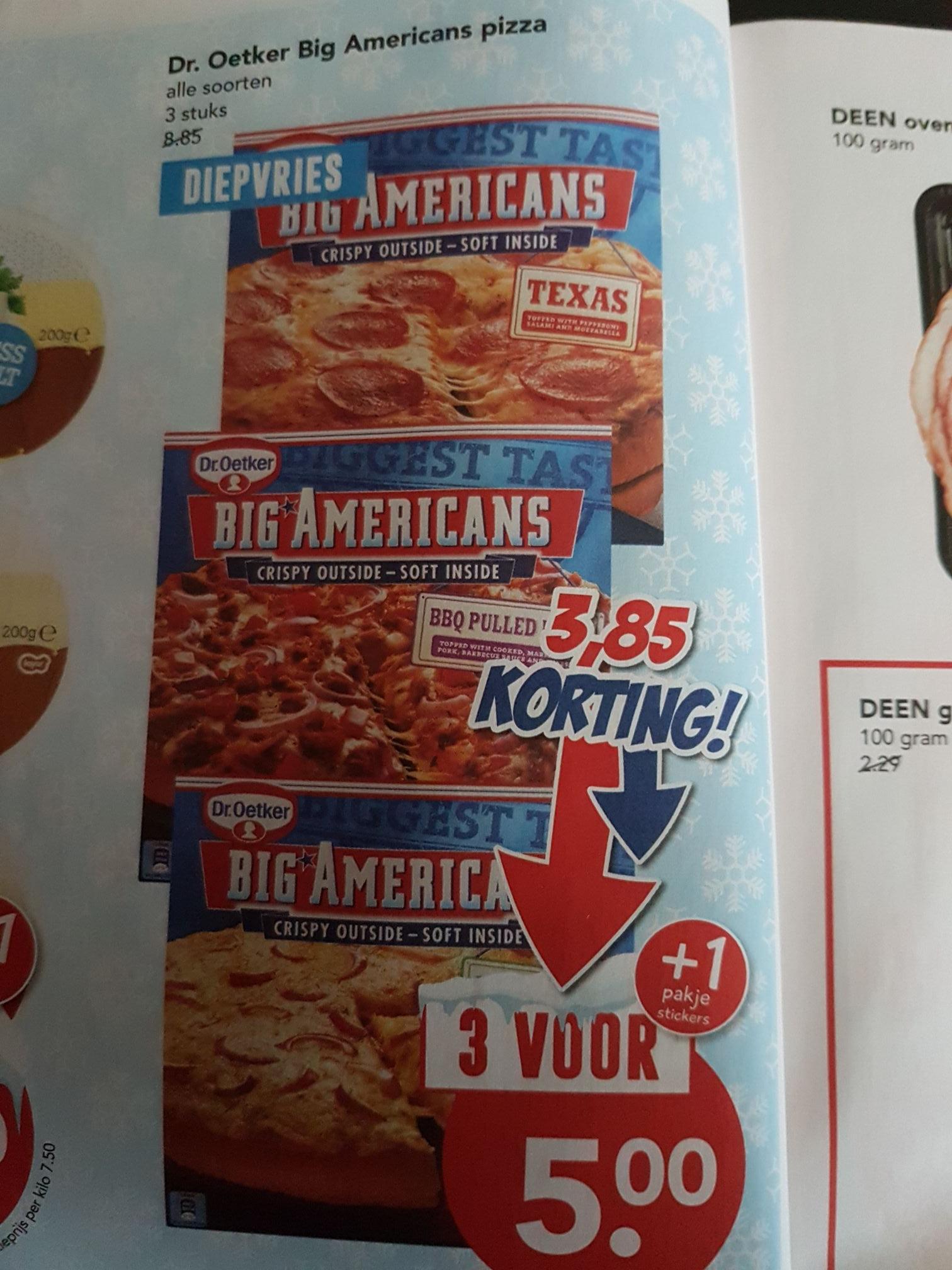 3 big Americans pizza's