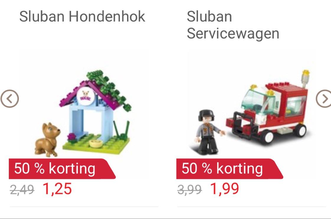 """Sluban """"LEGO""""  50% korting op de al scherpe prijzen"""