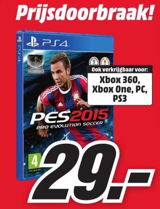 Pro Evolution Soccer 2015 (PS4/PS3/Xbox One/Xbox 360/PC) voor €29,- @ Media Markt (vanaf maandag)