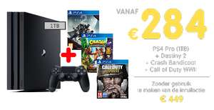 Inruilactie PS4 PRO + Destiny 2 + Crash Bandicoot + Call of Duty WWII vanaf €284 @ Gamemania