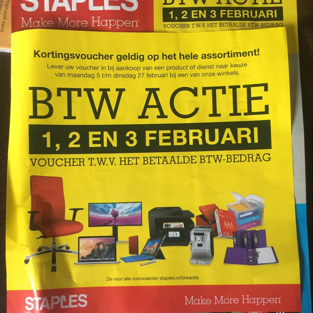 Btw actie staples 1, 2, 3 feb