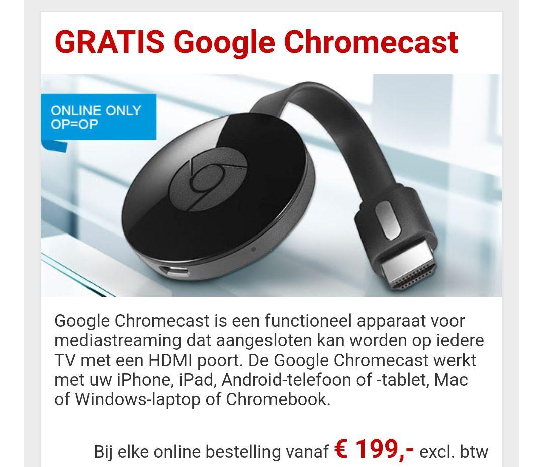 GRATIS Google Chromecast(& doos Celebrations) bij een bestelling t.w.v. €199 @Staples