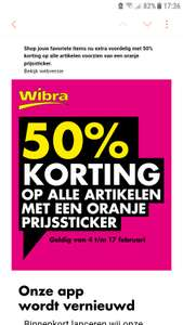 Wibra 50% extra korting op alle sale.