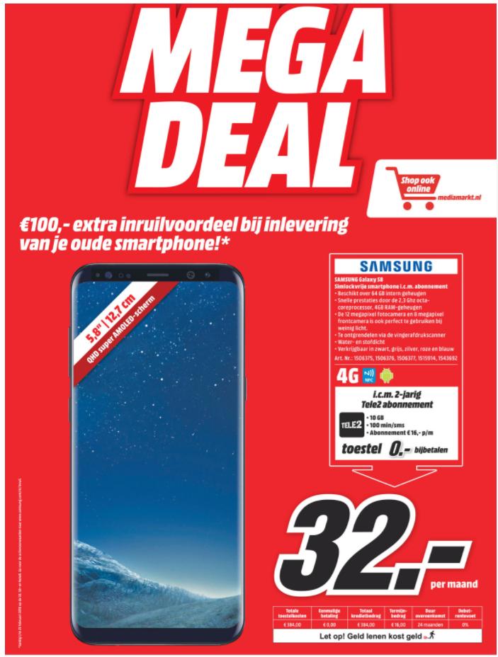 Vanaf ma 5 feb: Samsung Galaxy S8 32,- per maand met 10GB  + 100 belminuten