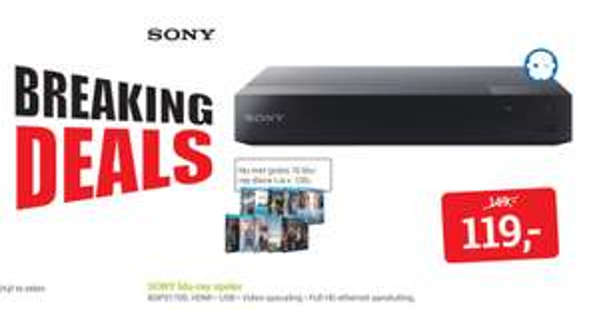 Sony BDPS1700 + 10 films vanaf morgen - €119 @ BCC