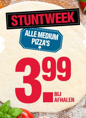 Deze week alle medium pizza's afhalen voor 16:00 €2,99, na 16:00 €3,99 @ Domino's