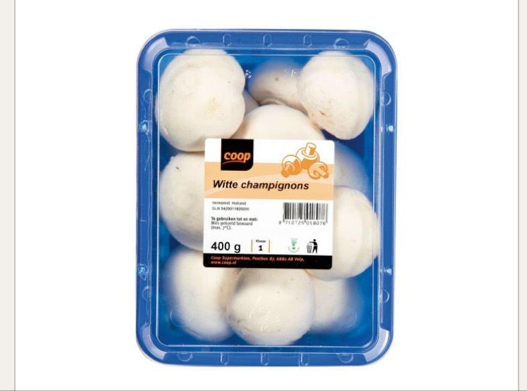 Gratis 400gr champignons bij Coop