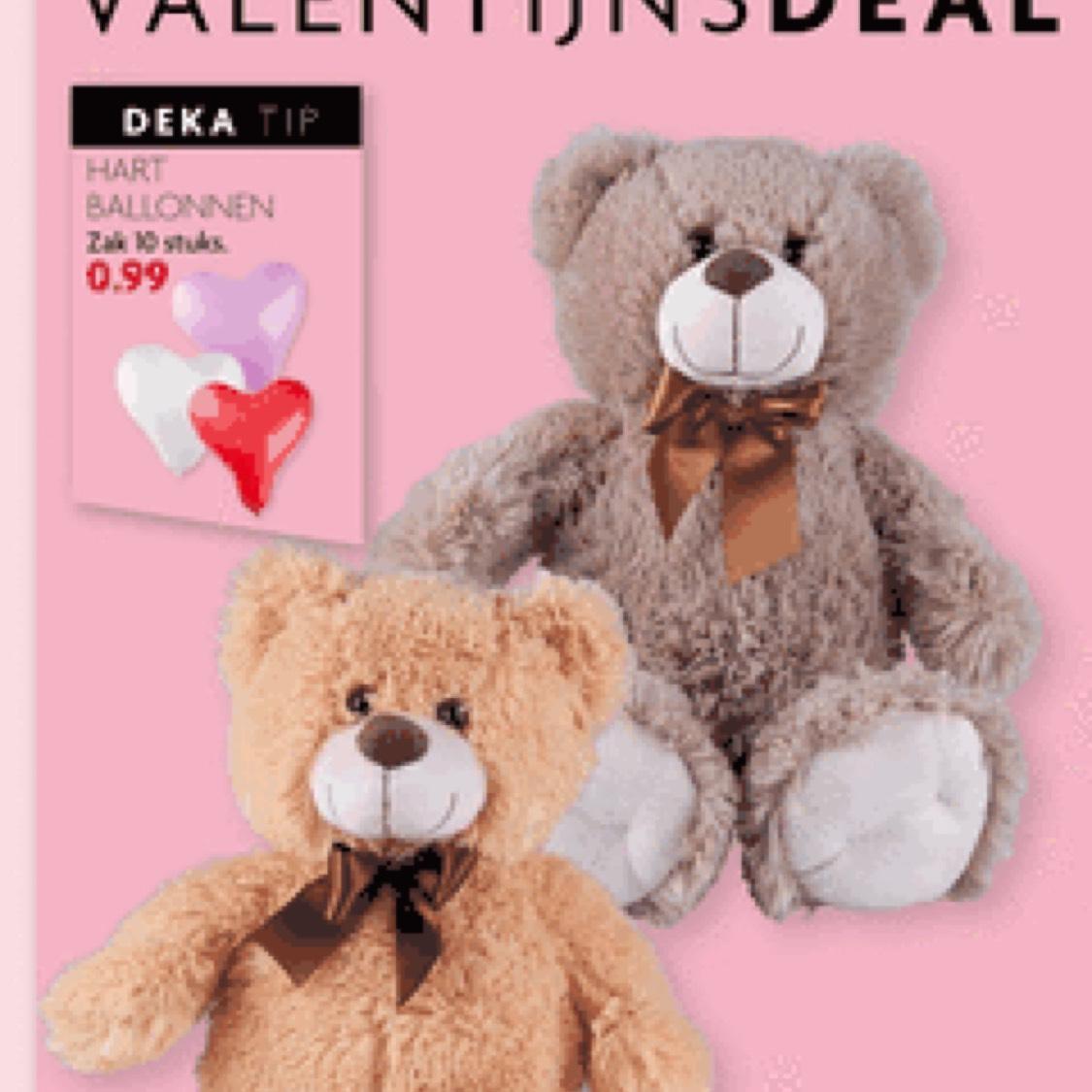 Valentijn pluchen teddybeer 54cm (4 kleuren) @DekaMarkt