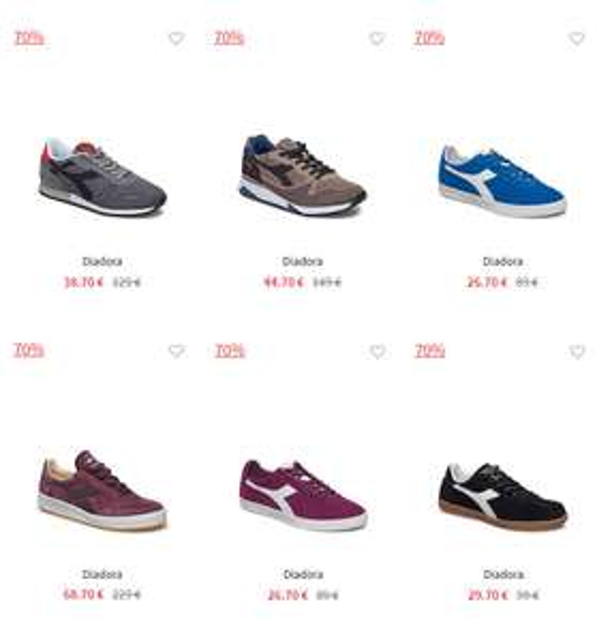 Diverse Diadora herensneakers -70% (va €26,70) @ Boozt