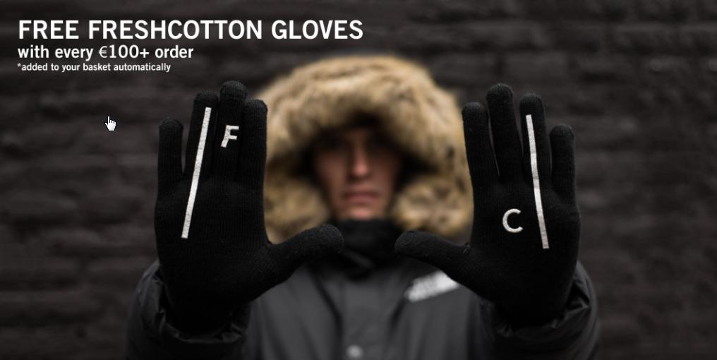 Gratis Freshcotton handschoenen bij elke bestelling boven de 100 euro