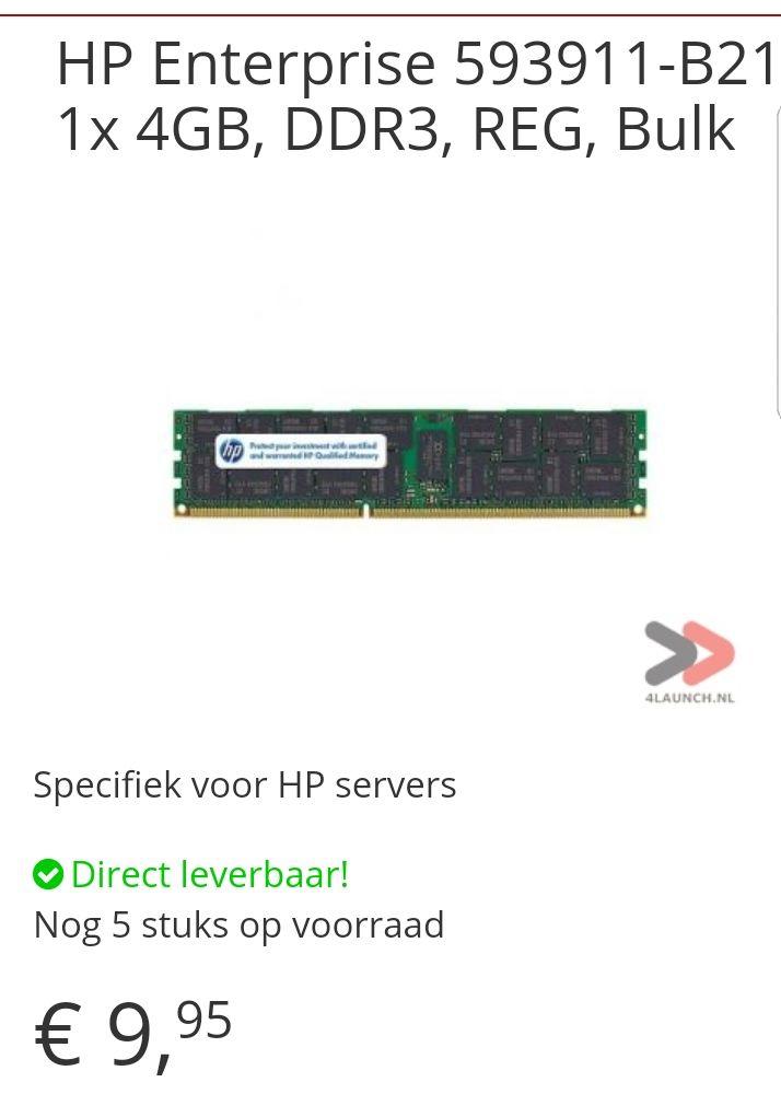 1x 4GB, DDR3, REGISTERED, Ram geheugen