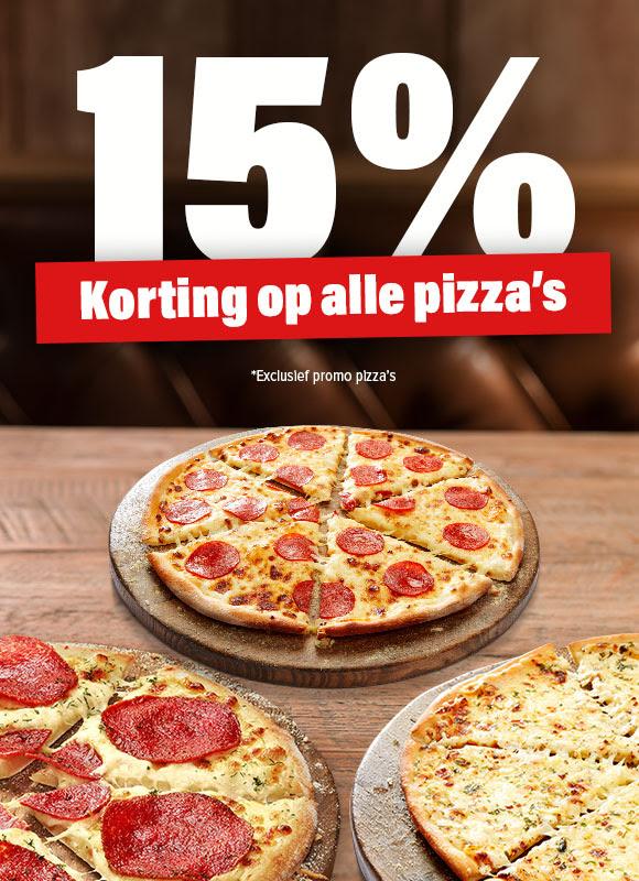 15% korting op alle* pizza's @ Domino's
