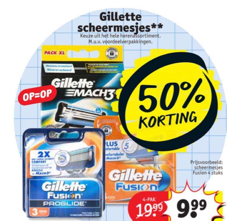 Kruidvat Gillette 50% korting op alle heren mesjes