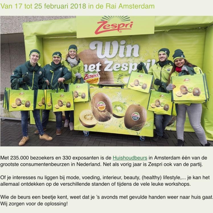 Gratis Zespri kiwi lepel en shopper @ Huishoudbeurs