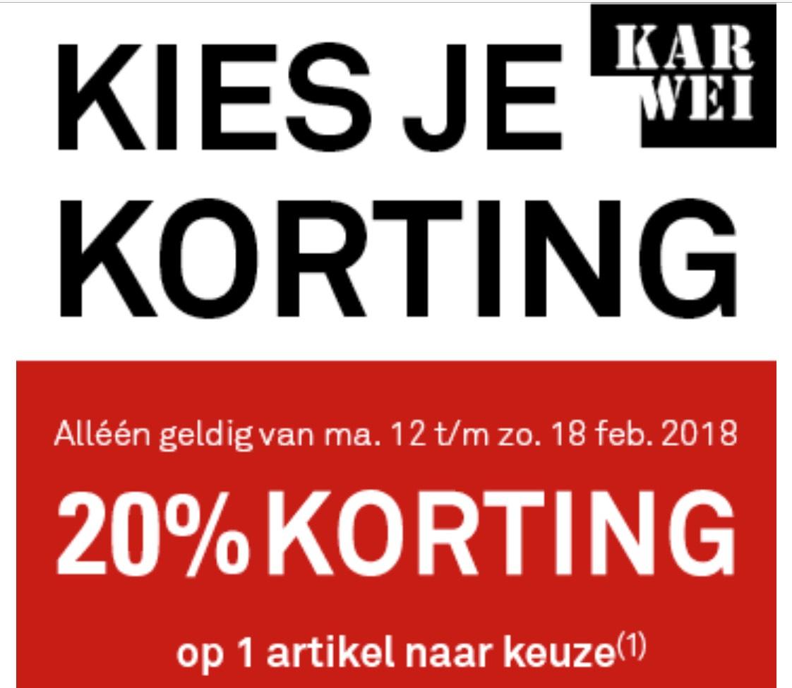 Ontvang 20% keuzekorting op 1 artikel naar keuze* ook online @Karwei