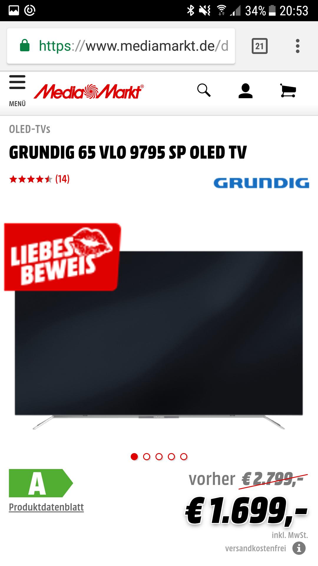 """Grundig 65"""" 9795 OLED bij Mediamarkt.de"""