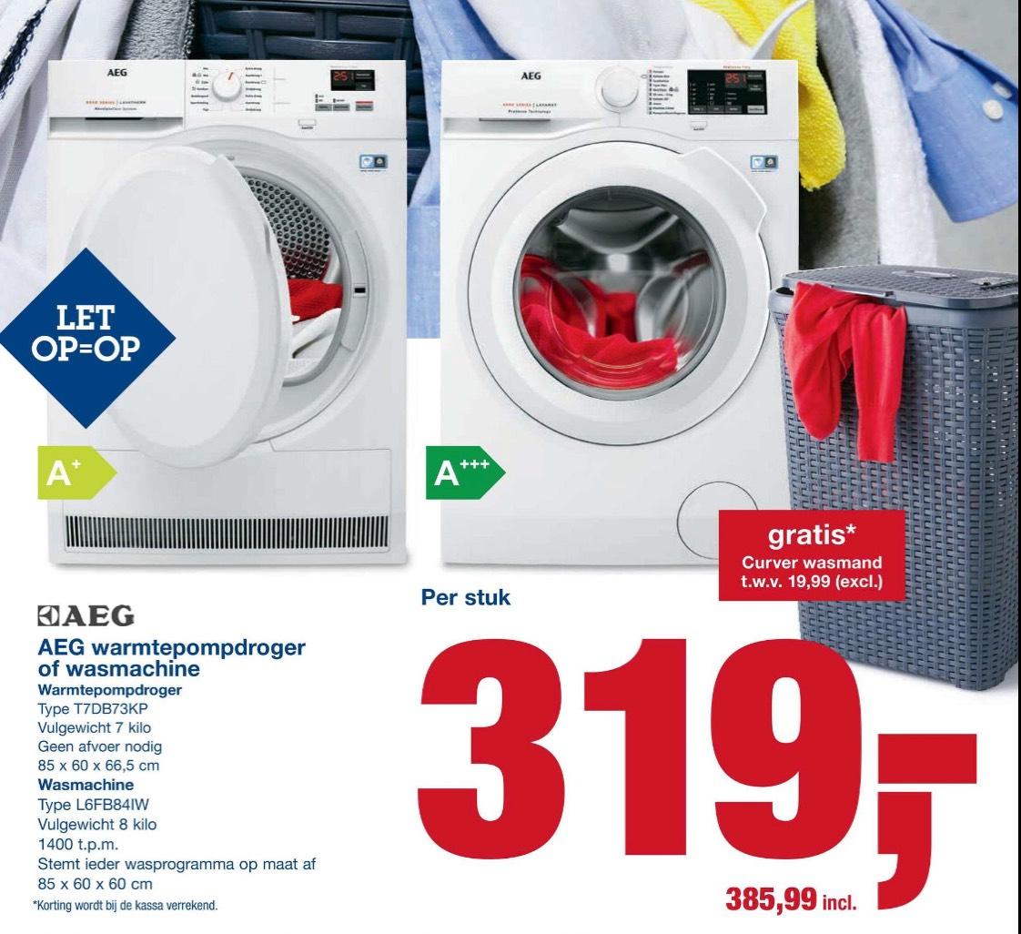 AEG Wasmachine of Warmtepompdroger + Gratis Curver wasmand @Makro
