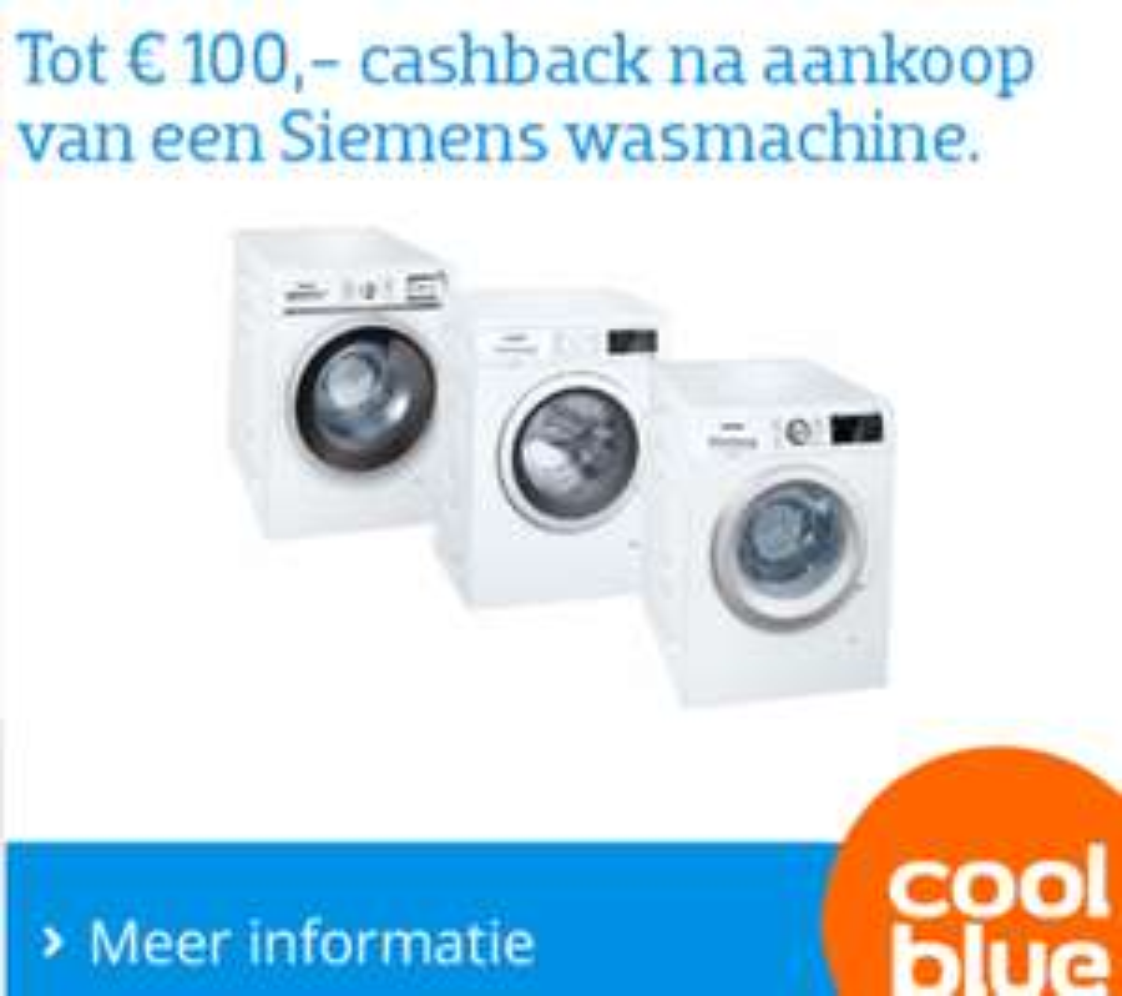 Tot 100,- euro cashback bij Siemens wasmachines @CoolBlue