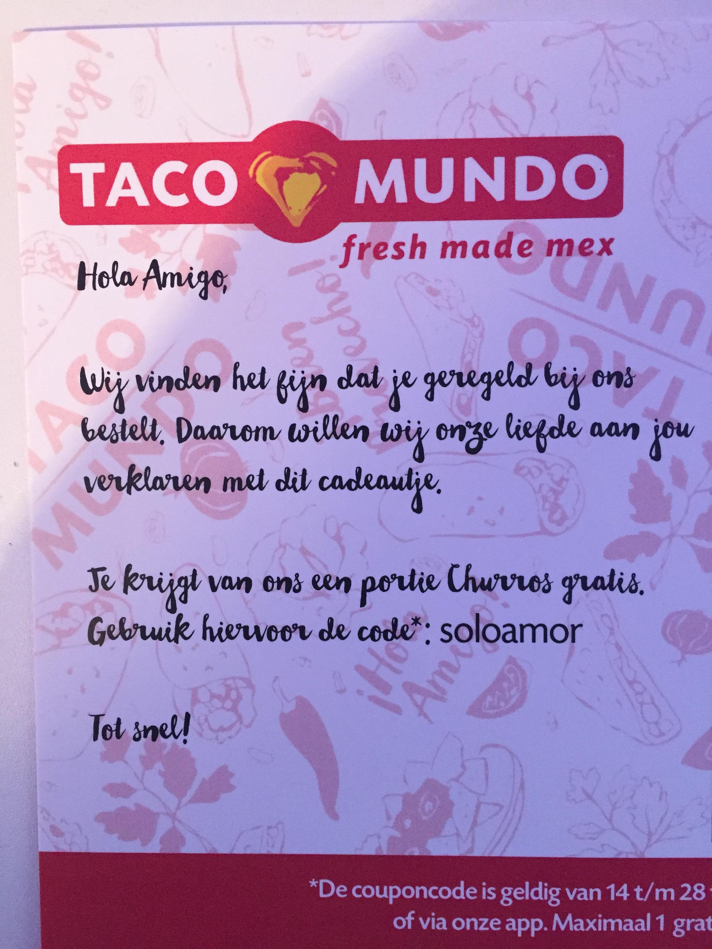 Gratis portie churros bij Taco Mundo