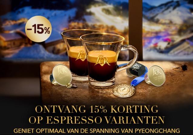 Ontvang 15% korting op Espressovarianten (cups Nespresso) van L'or