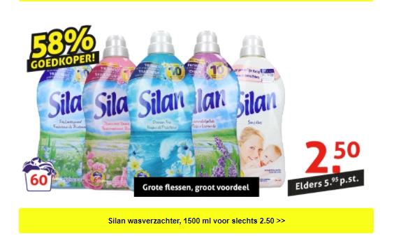 Silan wasverzachter, 1,5 liter (60 wasbeurten) voor 2,50 bij op = op voordeelshop