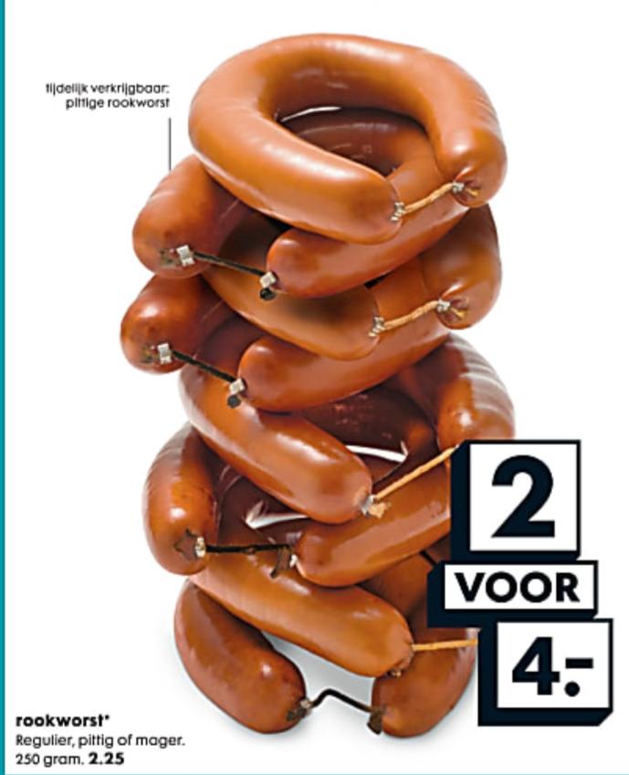 (Vanaf morgen) 2 HEMA rookworsten 2 voor €4
