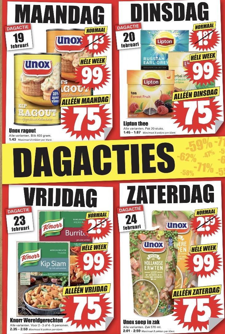Spectaculaire dagacties bij dirk, voor € 0,75 van max € 2,59