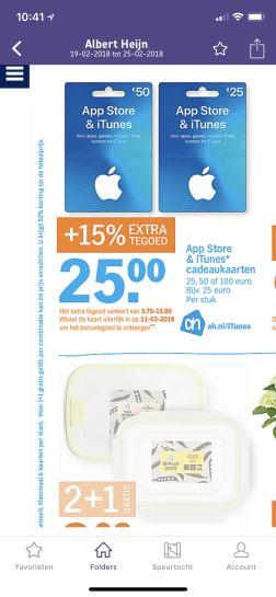 (Vanaf morgen) 15% extra tegoed Itunes bij AH vanaf €25