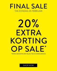 FINAL SALE: 20% EXTRA KORTING OP SALE @ Men At Work