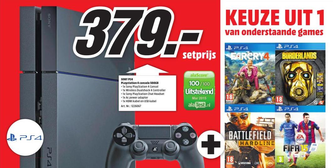 Playstation 4 + game 'naar keuze' voor €379 @ Media Markt