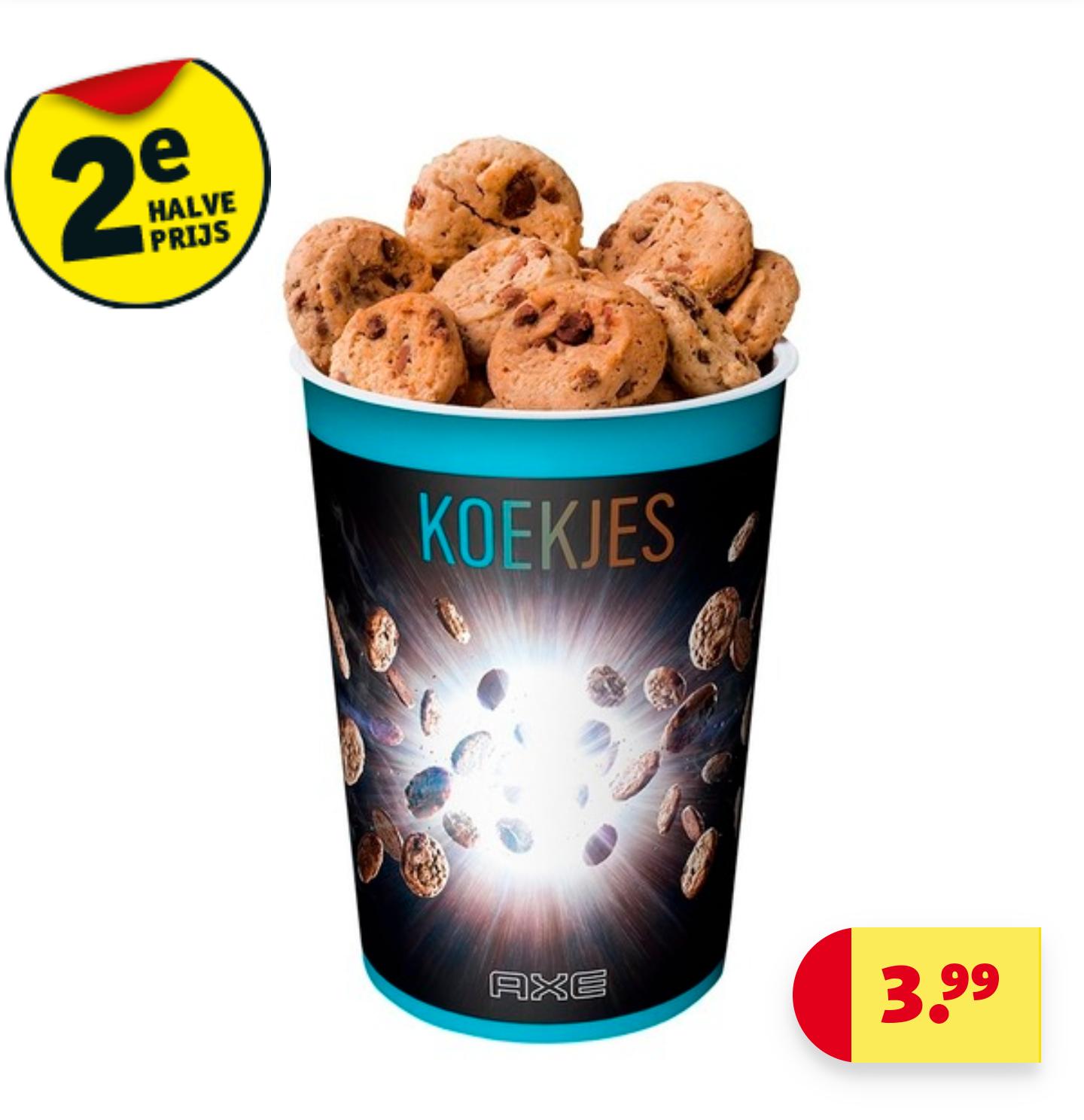 Gratis koekjes en 2e halve prijs bij aankoop van 2 Axe actieproducten @ Kruidvat