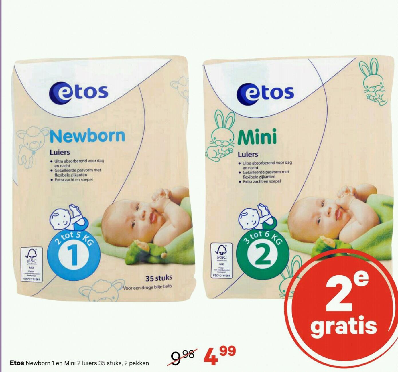 Etos Newborn 1 of Mini 2 luiers de 2e gratis @ Etos (vanaf maandag)