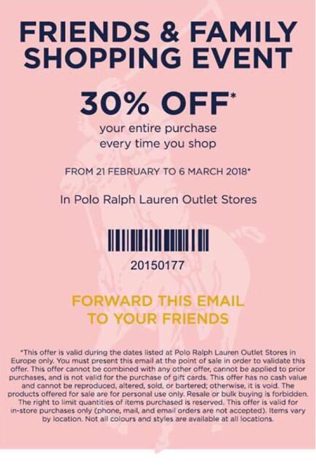 30% korting Ralph Lauren Outlet winkels
